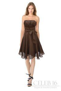 Satin brown bridesmaid's dress.