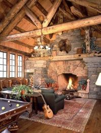 Log Cabin Fireplace | Cabins/ The Simple Life | Pinterest