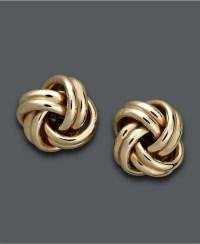18k Gold Earrings, Love Knot Stud Earrings