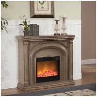 """48"""" White Wash Fireplace at Big Lots. 