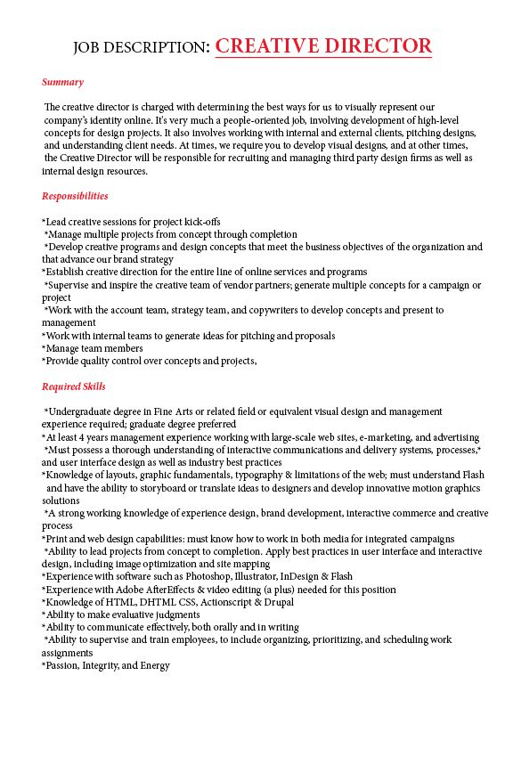 Best Creative Director Job Description Images  Best Resume