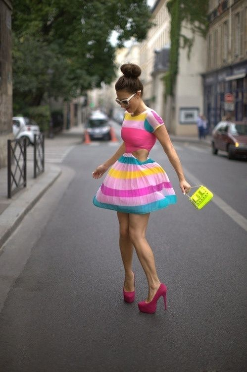 multi colour fruity stripes dress pink yellow blue white