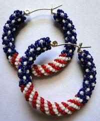 Small Native American Beaded Hoop Earrings