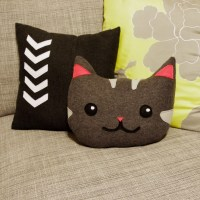 Kitty cat decorative pillow - in gray and pink