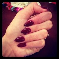 Dark red stiletto nails | Stiletto nails | Pinterest