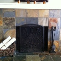 slate tile fireplace | Tile & Stone | Pinterest