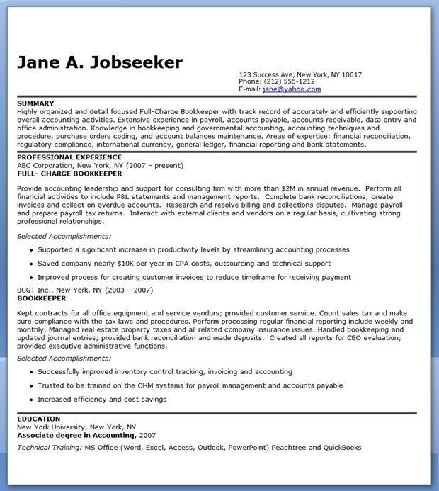 bookkeeper resume samples