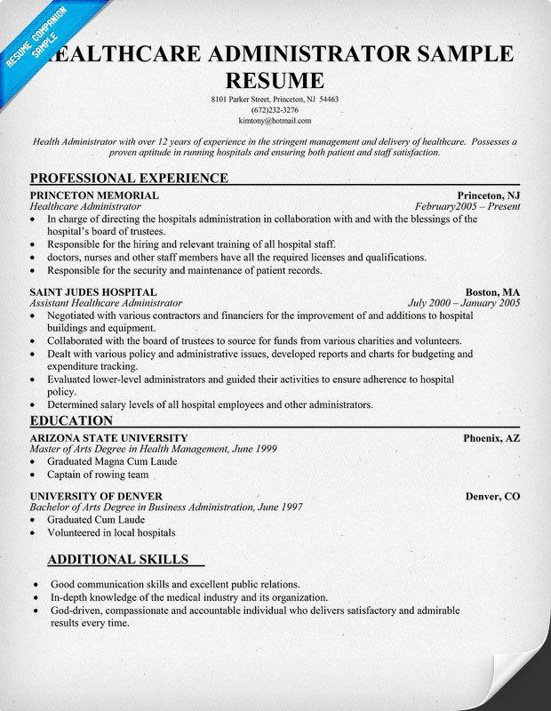 job resume health care hospital administrator skills and examples