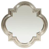Quatrefoil Mirror, Silver Metal