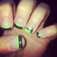 nails lime green with black.