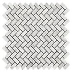 Herringbone Marble Mosaic Tile The Home Depot