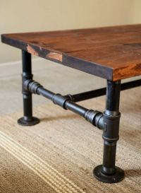 Coffee table with plumbing pipe legs