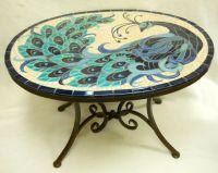 PEACOCK Mosaic Handmade Ceramic Tile Accent Coffee Table ...