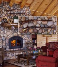 Log Home Stone Fireplace | Cabin love! | Pinterest
