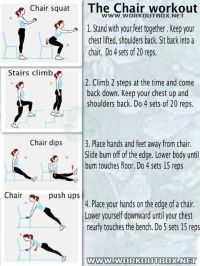 Chair workout | Health and exercise | Pinterest