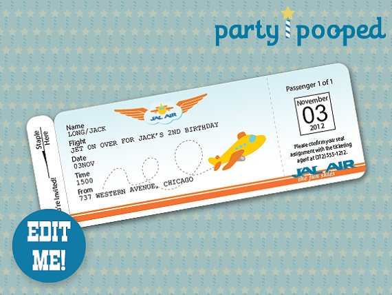 plane ticket invitation template – Airline Ticket Birthday Invitations