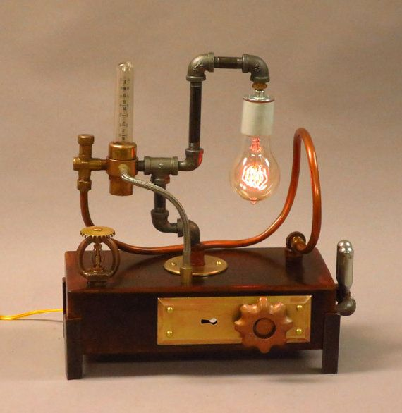 Steampunk desk lamp with edison bulb