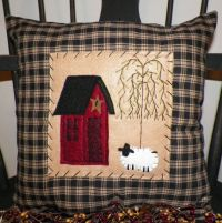 Pillow COVER Primitive Saltbox House Cushion Sheep Country