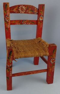 Vintage Primitive Red Hand Painted Child's Chair Mexican ...