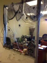 Office window Halloween decorating