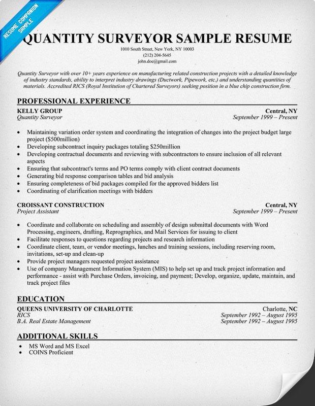 Sample Resume Quantity Surveyor
