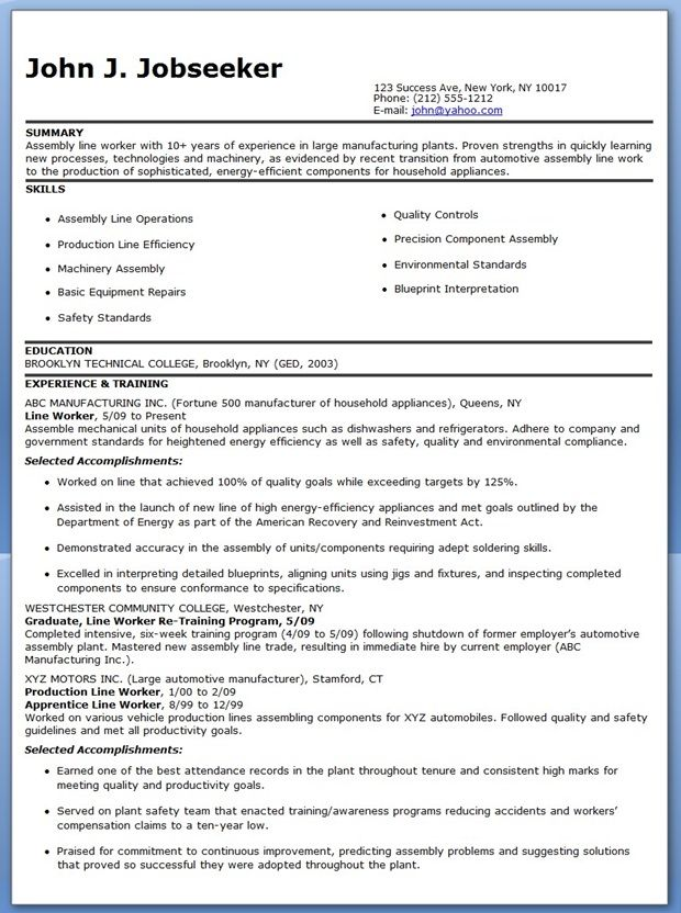 resume sample for factory worker   accounts receivable resume templateresume sample for factory worker factory worker resume sample job descriptions resume production line worker resume