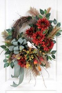 Large Country Wreath for Front Door, Country Sunflowers ...