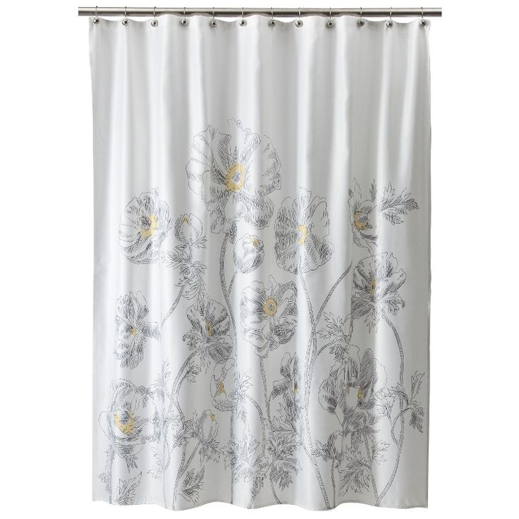 Threshold floral shower curtain yellow