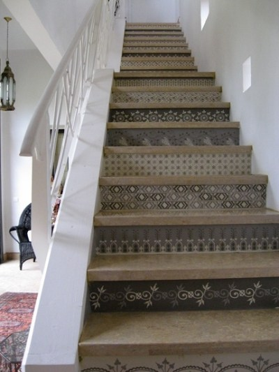 wallpaper on stair risers home | Crafty Things | Pinterest