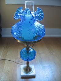 Vintage Fenton Blue Hurricane Style Lamp | For the Home ...