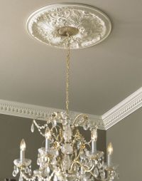 ceiling medallion with crystal chandelier