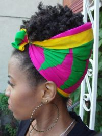 Colorful scarf | Natural Hair - Coily styles | Pinterest