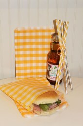 Sandwich / Favor Bags Yellow Gingham