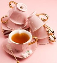 Pink Heart Shaped Tea Cups and Saucers | tea cups | Pinterest