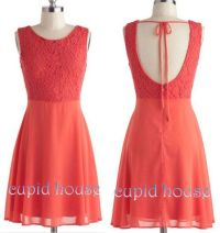 Short Lace Bridesmaid Dress, Coral Lace Prom Dress White ...