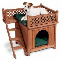 Dog House Cat Bed Cedar Wood Pet Indoor/Outdoor Living ...