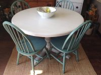 Round Kitchen Table Set, Gray and Teal Dining Table Set