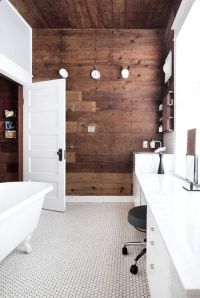 White bathroom with wood accent wall | bathroom reno ideas ...