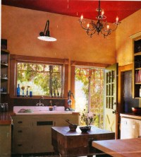 red ceiling, terra cotta walls | Dream Home | Pinterest