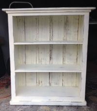 Bookcase cream distressed shabby chic-READY TO SHIP