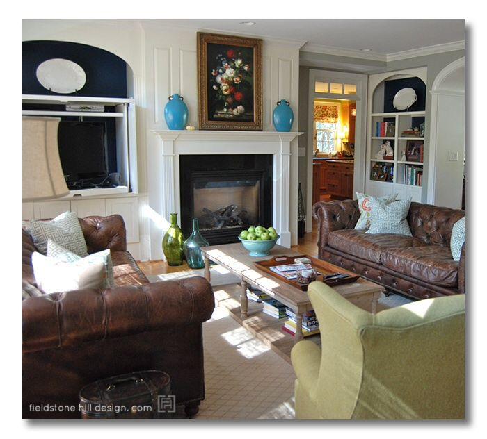 Aqua and brown living room