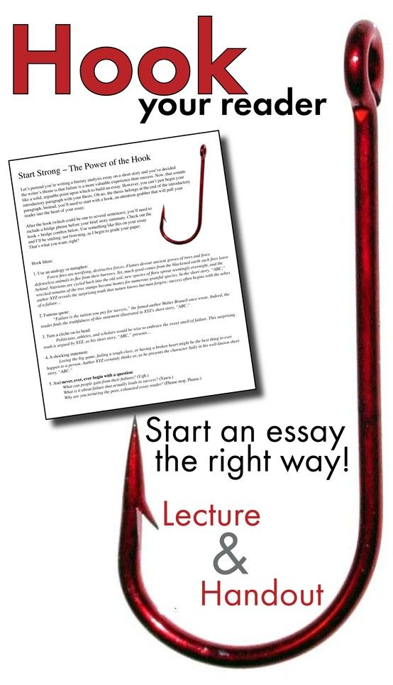 great college essay hooks Few good ways to create an excellent essay hook how to write good essay introduction essays are extremely challenging assignments for college students and professional writers another good idea is to have a look at the example of essay with a great hook.