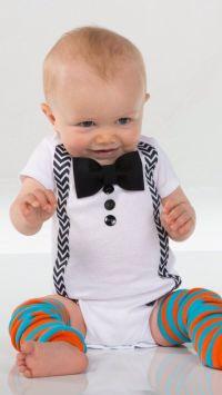 Baby Boy Clothes - Bow Tie Suspenders Onesie - Black Bow ...
