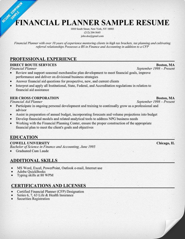 Financial Planner Resume Example | Sample Email Of Sending ...