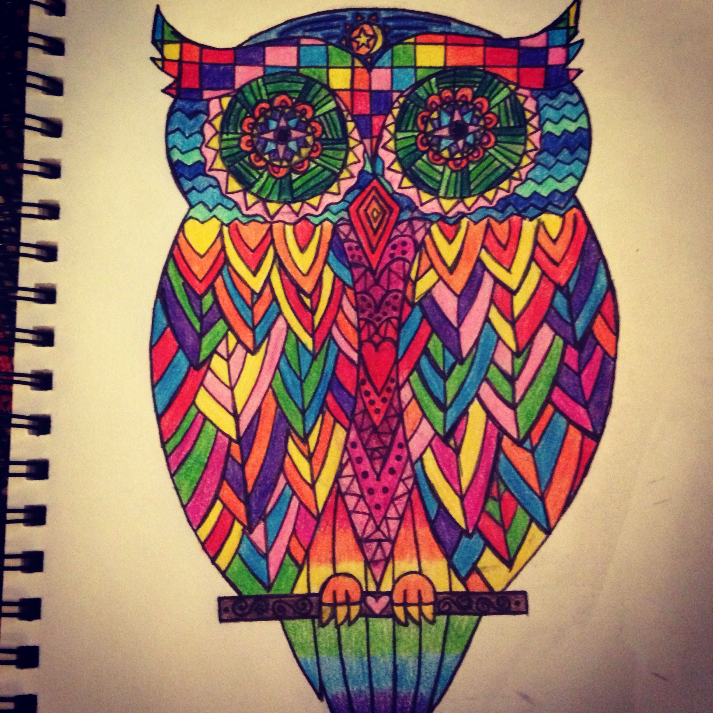 Colorful Pictures Of Owls Colorful Owl Tattoo Design Tattoosssss Pinterest
