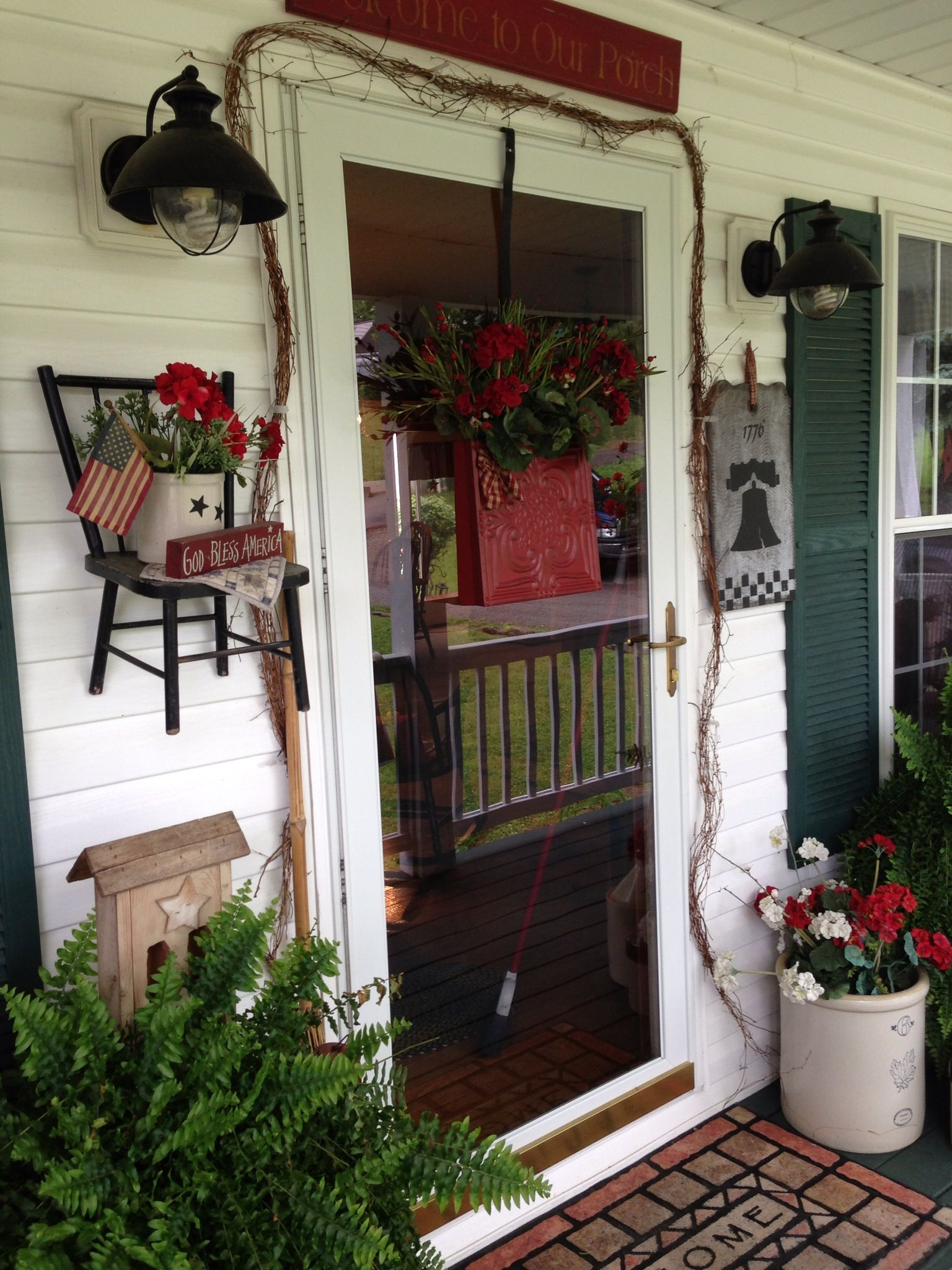 Farmhouse French Country Garage Doors Primitive Porch Decor Porch Ideas Pinterest