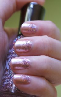 neutral ombre nails neutral ombre glitter nails manicure ...
