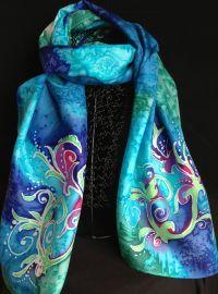 organic design silk scarf | silk painting | Pinterest