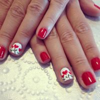 Red nails design - heart flowers | Nails | Pinterest