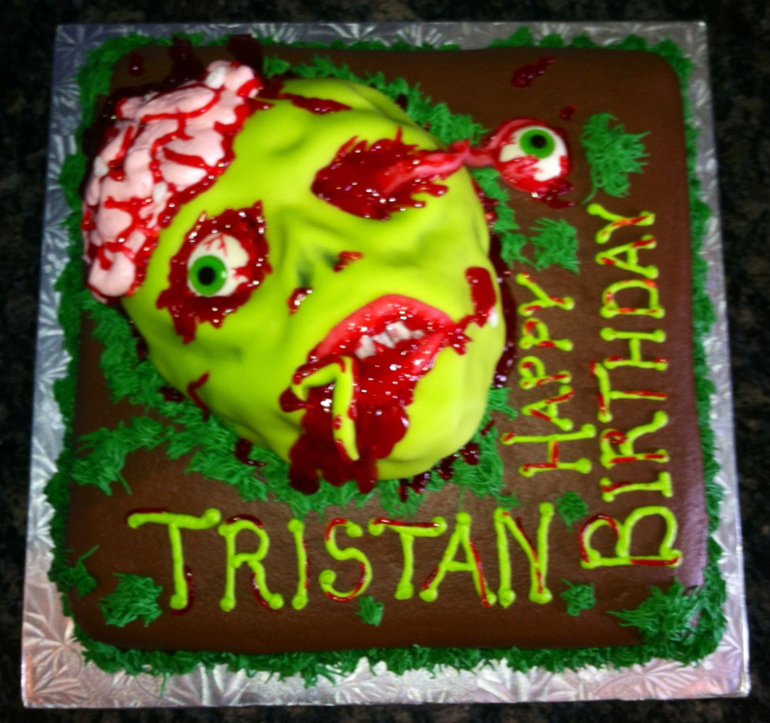 Zombie Face Birthday Cake My Cakes Pinterest